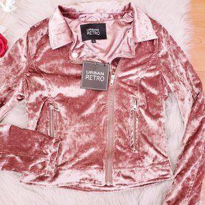 New Urban Retro Pink Velour Bomber Jacket Silk Sma